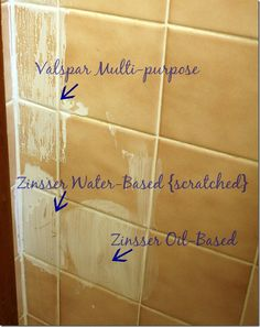 painting tile in bathroom, use zinser oil based primer bathroom painting over oil based paint - Oil Painting Painting Over Tiles, Painting Bathroom Tiles, Painting Ceramic Tiles, Painting Tile Backsplash, Floor Painting, Tiling, Just In Case, Just For You, Bathroom Remodeling