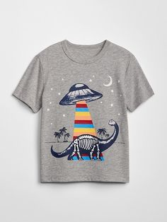 Gap Babies' Graphic Short Sleeve T-Shirt Light Heather Grey - August 24 2019 at Trendy Toddler Boy Clothes, Boys Clothes Style, Toddler Boy Outfits, Baby Kids Clothes, Toddler Fashion, Toddler Boys, Kids Outfits, Fashion Kids, Kids Boys