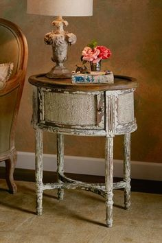 Sebastian Side Table is hand carved with a rustically authentic look. It makes a charming side table or bedside table.