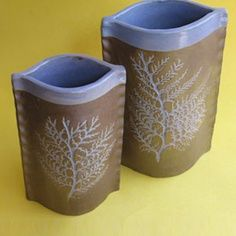 Slab Pottery Ideas | Slab vase idea...score, slip, and pinch sides     to use with the lino cuts