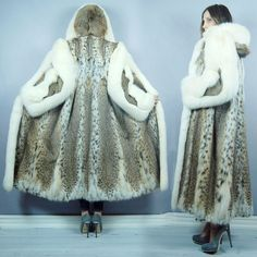 Spotted LYNX Arctic FOX Hooded FUR Coat M/L #Unbranded ~ It is SO FUZZY, I AM GOING TO DIE!!!