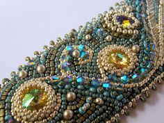 Surf    Bead Embroidery Bracelet   Blue  Silver  Patina by Vicus, $135.00