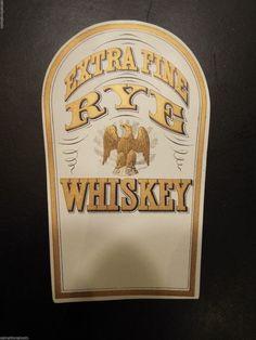 Vintage Extra Fine Rye Whiskey Large Bottle Label | eBay