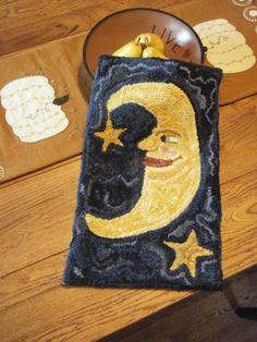 Primitive whimsical celestial hand hooked wool rug by RIWoolies, $79.00