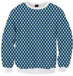 Ribbed Sweatshirt green circle pattern on blue #paom #shirts #trends