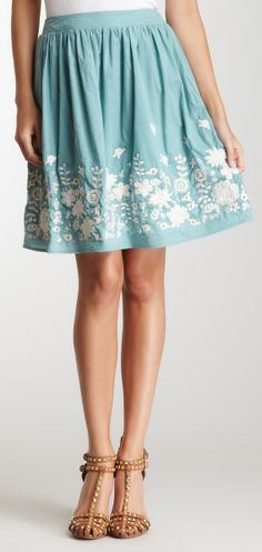 Embroidered skirt. Love skirts like these!! Not to short or long. Perfect lengths