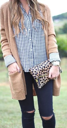 #winter #fashion //  Camel Cardigan // Checked Shirt // Leopard Clutch // Destroyed Skinny Jeans