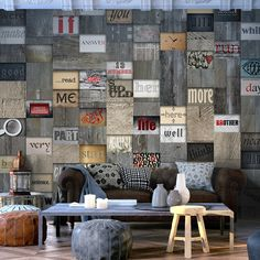"Availability: on order Resistant, water-rejecting and scratch-proof fleece wallpaper ""Wooden Inscription"". Wallpaper ""Wooden Inscription"" with the inspiring motive will be an effective eye-catch for each interior. 3d Wallpaper Mural, Photo Wallpaper, White City, Living Room Tv, New Homes, Throw Pillows, Street Art, Home Decor, Products"