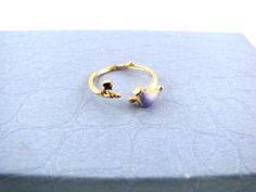 Gold Bird Ring / Tree Branch Ring / Violet Bird Ring / Nature Jewelry / Bohemian Adjustable Ring by RoswithaJewelry on Etsy