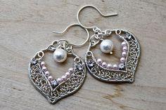 bridal silverlace earrings
