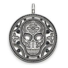 TS Jewellery Silver Plated Black Zirconia Skull Mask Pendants Fit TS Necklace, Thomas Style Heart of Rebel Jewelry for Women Men