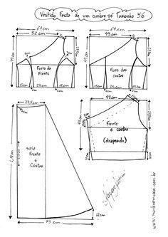 Patrón para confeccionar un Vestido de cóctel conun solo hombro. Tallas desde la 36 hasta la 56.