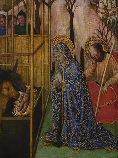 """GIOVANNI FRANCESCO DA RIMINI (Attribué),1440-50 - Vie de la Vierge, La Nativité (Louvre) - Detail 02  -  TAGS/ details détail détails painting paintings peintures """"peinture 15e"""" """"15th-century paintings"""" """"Moyen Âge"""" """"Middle age"""" Museum Paris France Italie Italy Italia Bible prière prayer Bless sacred holy blessed Virgin Jésus Jesus kid family famille """"St Joseph"""" """"da Rimini"""" baby bébé """"Italian paintings"""" """"peinture italienne"""" Rimini bois wood crèche étable """"Rois Mages"""" ox donkey âne nativity…"""