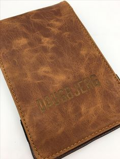 Image Of Handcrafted Leather Golf Scorecard Holder Any Color Three Custom Engravings