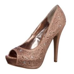 These stunning pumps from Steve Madden are covered with rhinestones over a rose gold-colored fabric. Love them! Note I got my pair at the Steve Madden store on sale :-)