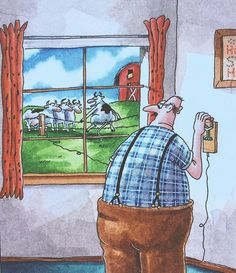 """""""Look if it was electric could I do this?"""" . #thefarside # # by thefarsideofficial"""