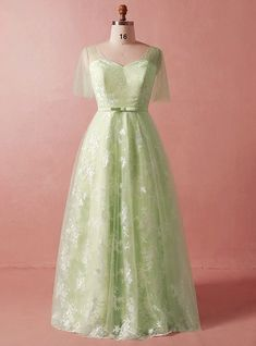 Plus Size Green Lace Tulle Short Sleeve V-neck Prom Dress With Bow – kemedress Bridesmaid Dresses Plus Size, Prom Dresses With Sleeves, Tulle Prom Dress, Party Dress, Lace Dress, Wedding Dresses, Best Plus Size Dresses, Plus Size Gowns Formal, Plus Size Prom