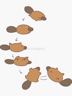 'platypus' Sticker by snowysaur - Graphic Work Cute Animal Drawings, Kawaii Drawings, Cute Drawings, Animes Wallpapers, Cute Wallpapers, Cartoon Mignon, Character Art, Character Design, Art Mignon
