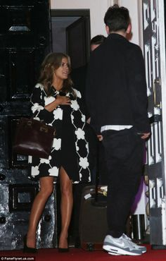 She's on cloud nine! Caroline Flack wows in plunging little black dress and novelty print coat at X Factor wrap party. Caroline Flack, Tv Presenters, Novelty Print, All About Fashion, Lbd, Celebrity News, Sequin Skirt, Celebrities, Coat