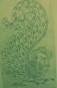Kerala mural pencil sketch(by:Preetha Ramesh ) Peacock Embroidery Designs, Hand Embroidery Design Patterns, Embroidery Motifs, Peacock Painting, Peacock Art, Fabric Painting, Peacock Outline, Art Drawings Sketches Simple, Pencil Art Drawings