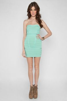 Mint banded strapless dress + cognac colored shoes...love.