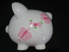This item is unavailable Large Piggy Bank, Pig Bank, Personalized Piggy Bank, Shabby Chic Flowers, Cute Piggies, Butterfly Flowers, Butterflies, Baby Shower Centerpieces, Ceramic Painting
