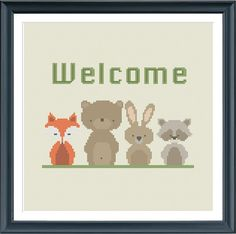 modern cross stitch pattern WELCOME woodland welcome by Happinesst