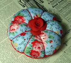 Blue Red Floral Pin Cushion, Cath Kidston style ~By She'sSewPretty