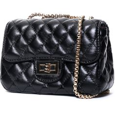 SheIn(sheinside) Black Diamond Pattern Chain Bag ($16) ❤ liked on Polyvore featuring bags, handbags, shoulder bags, purses, bolsa, accessories, black, black quilted purse, quilted purse and black chain purse