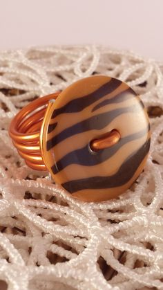 bague tigresse en fil daluminium orange et bouton motifs tigresse - Fil D Aluminium Color