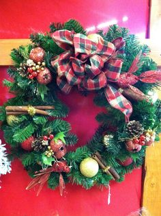 Hand-made wreaths with ornaments that you choose, available at our shop. https://www.facebook.com/WestTremontHolidayMarket
