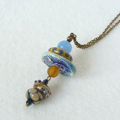 Handmade Pendant Necklace Boho Pendant Necklace by bleuluciole