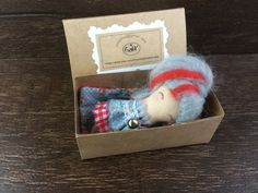 Collectible doll in a matchbox cloth doll by GabYhandmade on Etsy