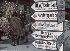 German road signals in Paris during the WWII occupation Road Signals, German Road Signs, Serge Reggiani, St Ouen, French Names, Occupation, Nazi Propaganda, Old Paris, Colouring Pics