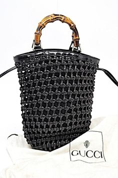 6b230be1925 GUCCI Vintage Black Woven Leather Suede Bucket Handbag Drawstring Top 7.5