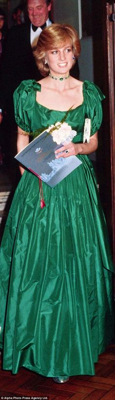 Taffeta fairytale: She shimmers in an emerald green gown by Graham Wren at a Swansea gala in 1981