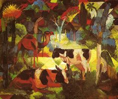 Landscape with Cows and Camel: 1914 August Macke German Expressionist Painter 1887 - 1914