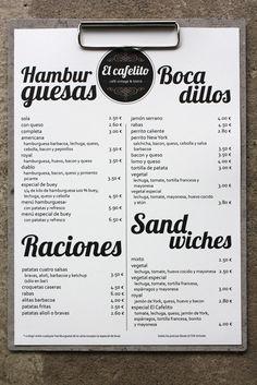 diseño de imagen corporativa logotipo, carta, para un restaurante y café bistró vintage en Hinojedo Cantabria Burger Restaurant, Restaurant Menu Design, Burger Bar, Restaurant Ideas, Cafe Bar, Cafe Bistro, Cafeteria Menu, Coffee Chart, Vintage Coffee Shops
