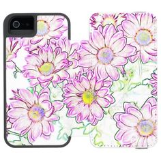 Colorful Flowers Wallet Case For iPhone SE/5/5s