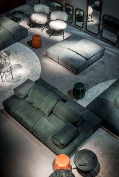 Sectional modular fabric #sofa PANAMA BOLD - BAXTER