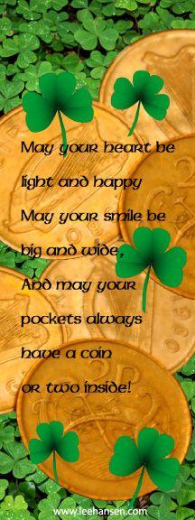 Printable Bookmarks - Irish Good Luck Blessing St Patrick s Day My Funny Valentine, Irish Potatoes, St Patricks Day Food, Happy May, Printable Bookmarks, Printables, Irish Blessing, Thinking Day, St Paddys Day