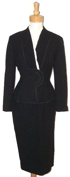 1940   Black Wool Suit with Fine Pleats and Cream Faille Trim by Lilli Ann