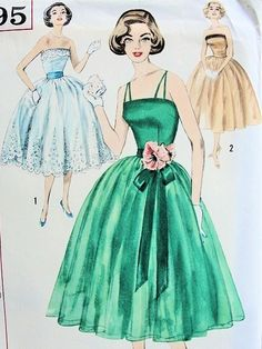 Lovely 1950s Strapless  Evening Party Dress Pattern Crossed Straps Version Lovely Fitted Bodice Perfect Full Dancing Skirt Simplicity 2295 Bust 34 UNCUT FACTORY FOLDED