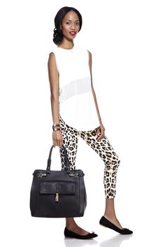 We'd pair this outfit with some sterling silver LAGOS jewelry! Leopard Print, Large Black Satchel