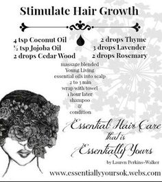 Hair Care Young Living regrow hair essential oils Essential Oil Recipe www. Hair Care Young Living r Hair Care Oil, Diy Hair Care, Hair Oil, Diy Hair Growth Oil, Young Living Hair, Young Living Oils, Essential Oils For Hair, Young Living Essential Oils, Trendy Haircut