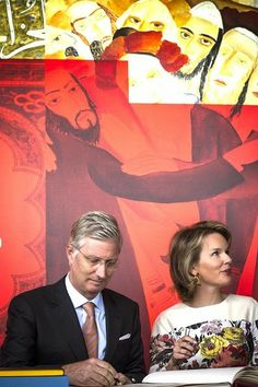 "King Philippe of Belgium and Queen Mathilde visit the exhibition ""Sacred Places, Sacred Books"" at the Aan de Stroom MAS Museum in Antwerp, Belgium on September 24, 2014"