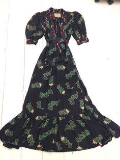 bae473259e Vintage 1970s Ossie Clark Rayon Celia Birtwell Maxi Romantic Lily Print  Size 14