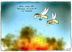 Michael Leunig, staff cartoonist of Melbourne's The Age, penned the latest moral equivalence. Morals, Note To Self, Balloons, Peace, Thoughts, Funny, Blind, Angels, Notes