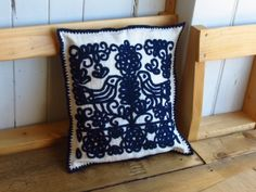 Embroidered Cushion Cover - Transylvanian/Hungarian embroidery cm - Blue by LittleHungarianHeart on Etsy
