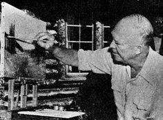 Dwight Eisenhower at work on a painting.